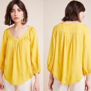 Anthropologie Maeve Yellow Boswell Peasant Blouse